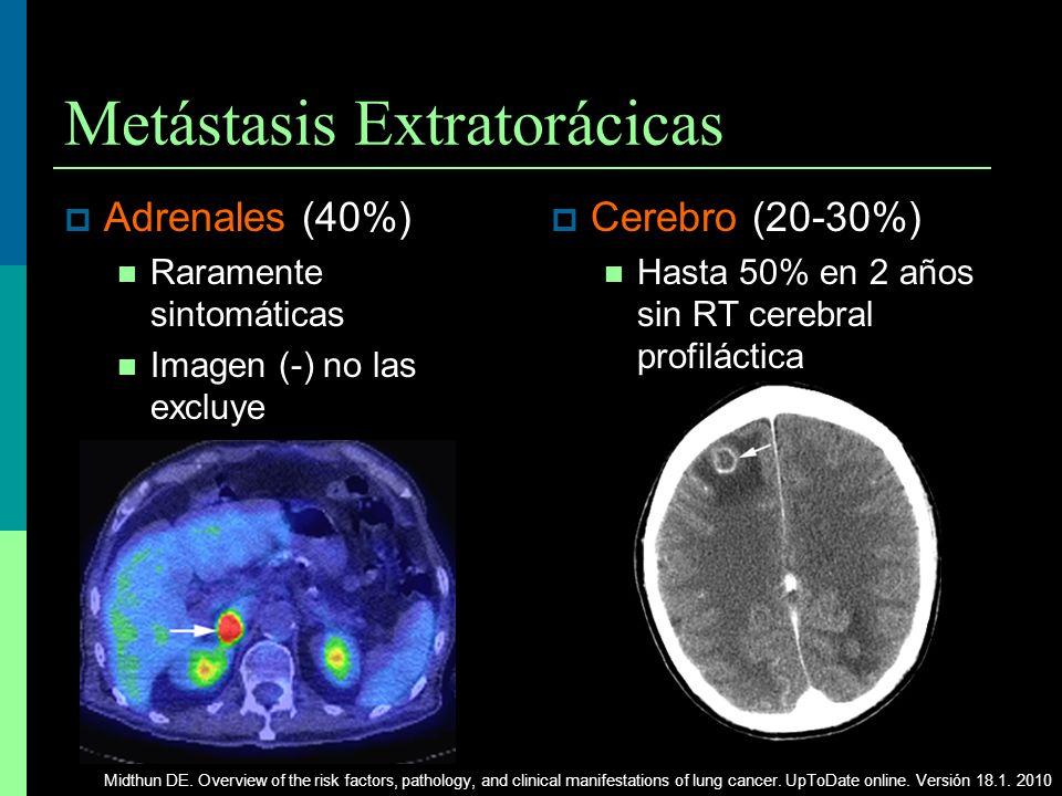 Metástasis Extratorácicas Adrenales (40%) Raramente sintomáticas Imagen (-) no las excluye Cerebro (20-30%) Hasta 50% en 2 años sin RT cerebral profil