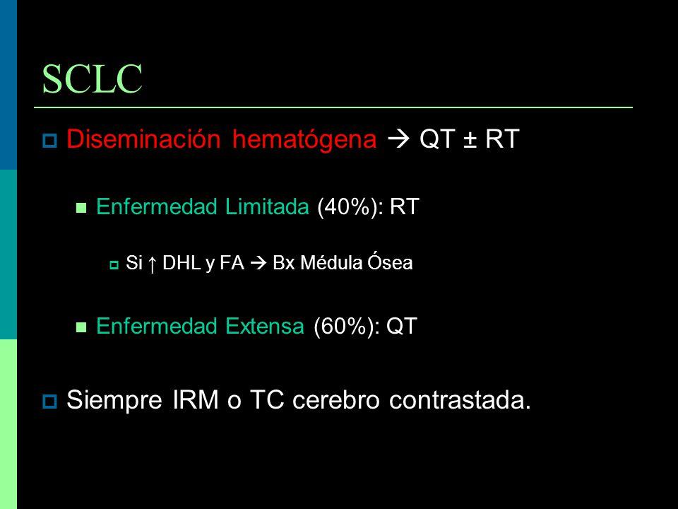 SCLC Diseminación hematógena QT ± RT Enfermedad Limitada (40%): RT Si DHL y FA Bx Médula Ósea Enfermedad Extensa (60%): QT Siempre IRM o TC cerebro co