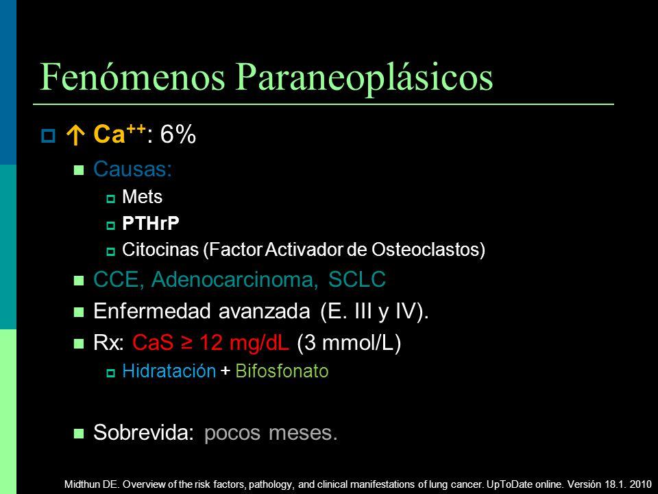 Fenómenos Paraneoplásicos Ca ++ : 6% Causas: Mets PTHrP PTHrP Citocinas (Factor Activador de Osteoclastos) CCE, Adenocarcinoma, SCLC Enfermedad avanza