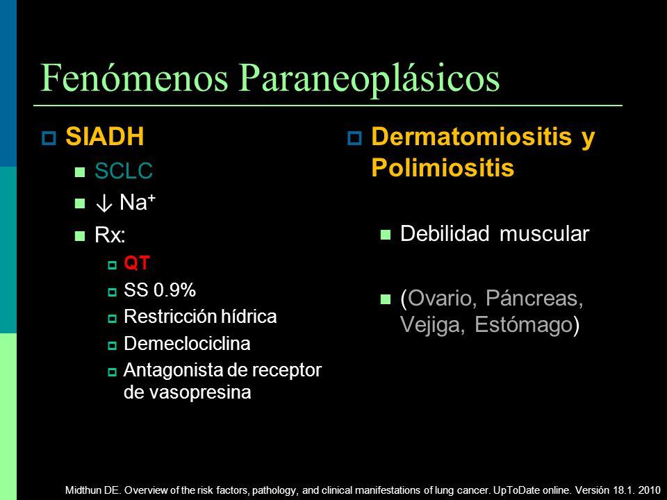 Fenómenos Paraneoplásicos SIADH SCLC Na + Rx: QT SS 0.9% Restricción hídrica Demeclociclina Antagonista de receptor de vasopresina Dermatomiositis y P