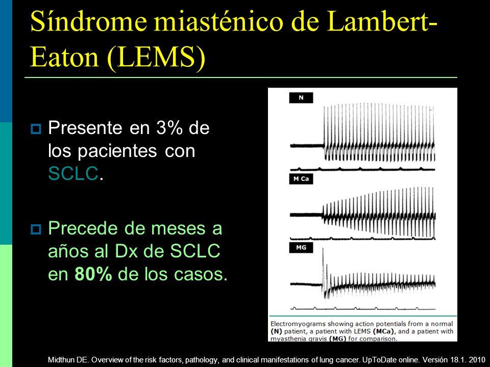 Síndrome miasténico de Lambert- Eaton (LEMS) Presente en 3% de los pacientes con SCLC. Precede de meses a años al Dx de SCLC en 80% de los casos. Midt