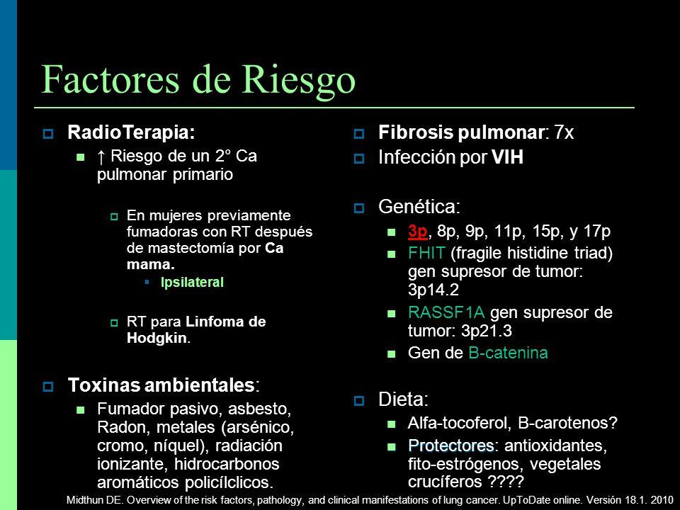 Factores de Riesgo RadioTerapia: Riesgo de un 2° Ca pulmonar primario En mujeres previamente fumadoras con RT después de mastectomía por Ca mama. Ipsi