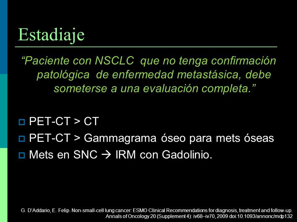 Estadiaje Paciente con NSCLC que no tenga confirmación patológica de enfermedad metastásica, debe someterse a una evaluación completa. PET-CT > CT PET