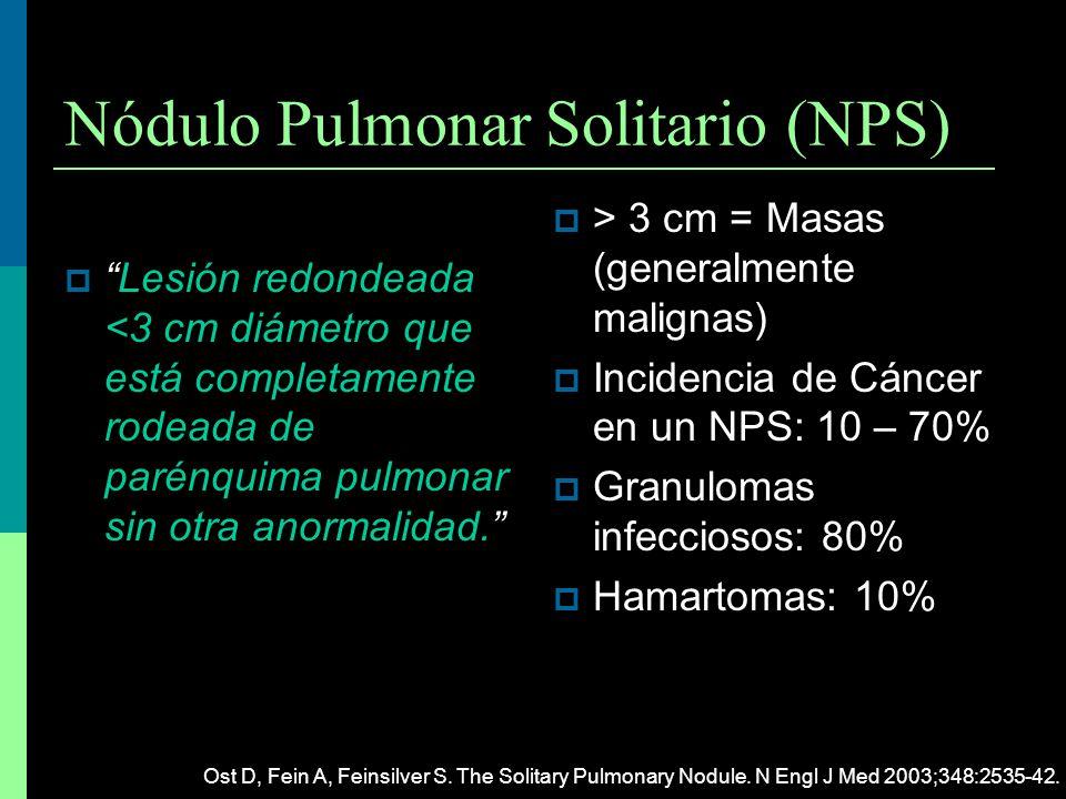 Nódulo Pulmonar Solitario (NPS) Lesión redondeada <3 cm diámetro que está completamente rodeada de parénquima pulmonar sin otra anormalidad.Lesión red