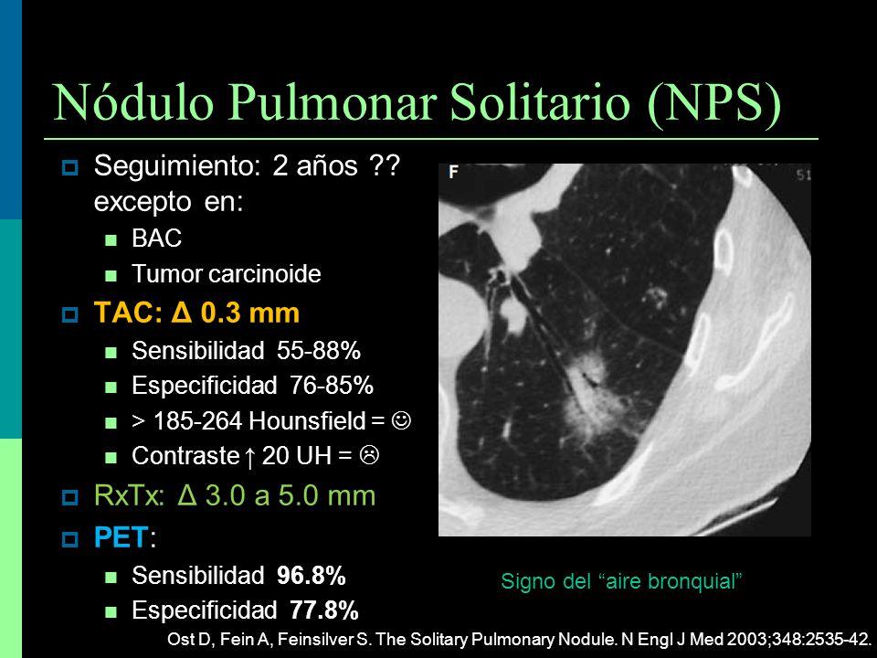 Nódulo Pulmonar Solitario (NPS) Seguimiento: 2 años ?? excepto en: BAC Tumor carcinoide TAC: Δ 0.3 mm TAC: Δ 0.3 mm Sensibilidad 55-88% Especificidad