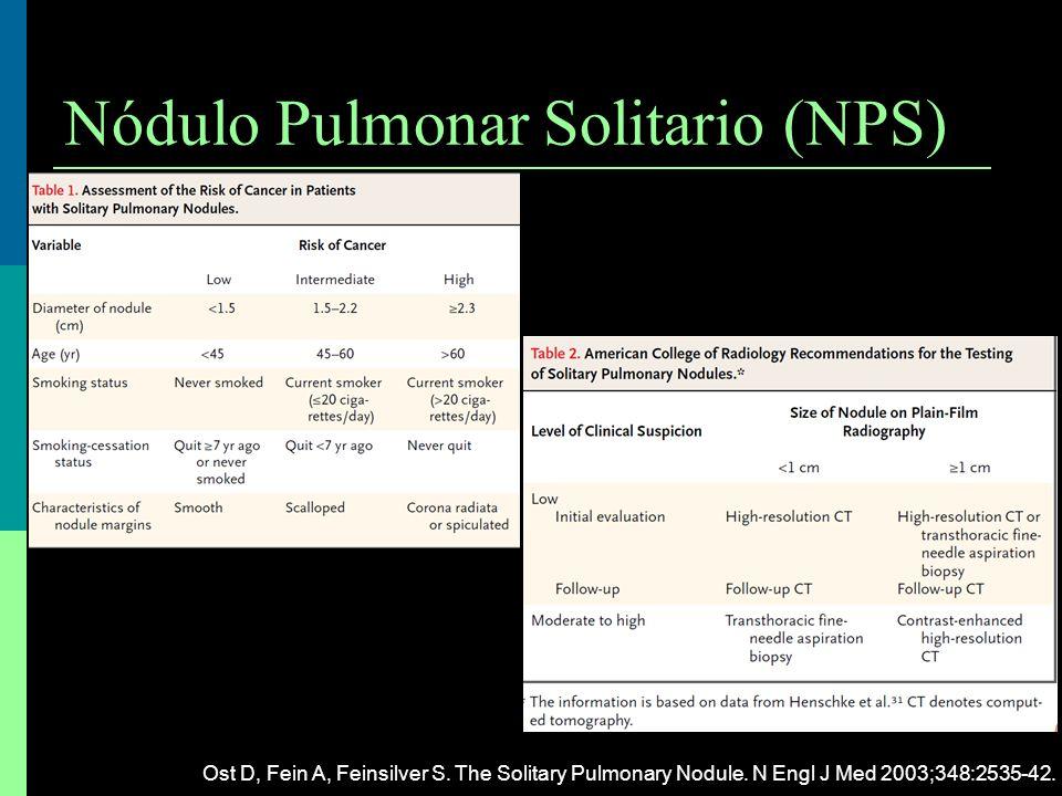 Nódulo Pulmonar Solitario (NPS) Ost D, Fein A, Feinsilver S. The Solitary Pulmonary Nodule. N Engl J Med 2003;348:2535-42.