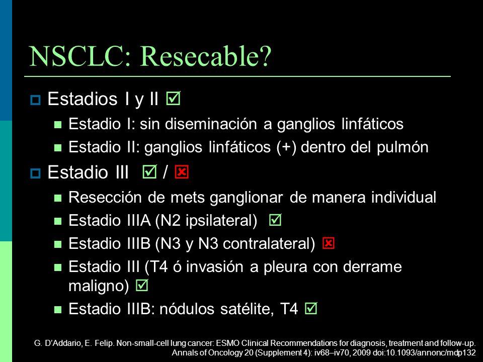 NSCLC: Resecable? Estadios I y II Estadio I: sin diseminación a ganglios linfáticos Estadio II: ganglios linfáticos (+) dentro del pulmón Estadio III