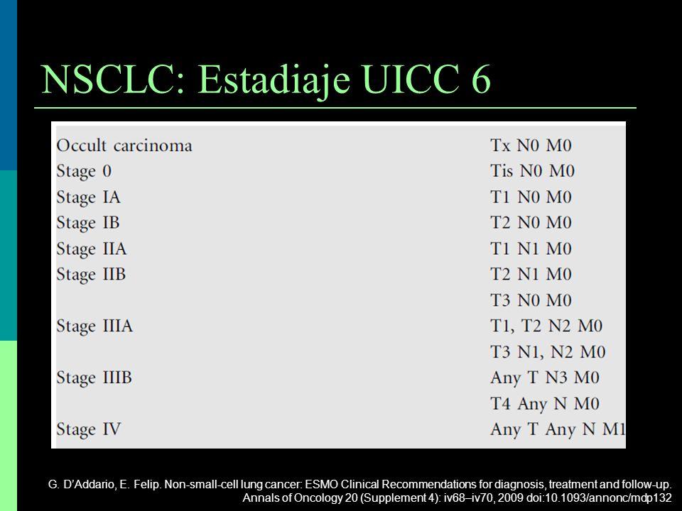 NSCLC: Estadiaje UICC 6 G. DAddario, E. Felip. Non-small-cell lung cancer: ESMO Clinical Recommendations for diagnosis, treatment and follow-up. Annal