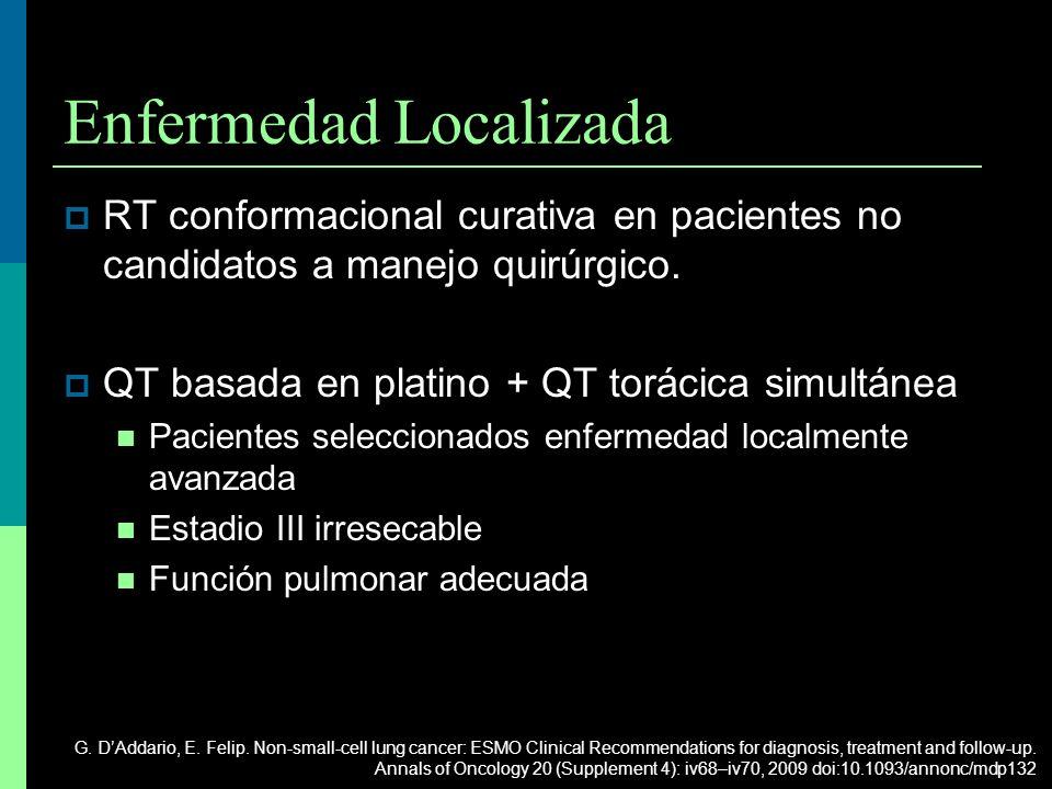 Enfermedad Localizada RT conformacional curativa en pacientes no candidatos a manejo quirúrgico. QT basada en platino + QT torácica simultánea Pacient