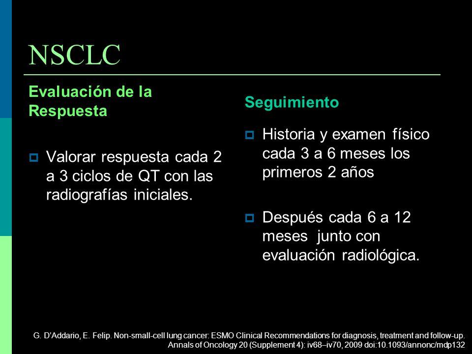 NSCLC Evaluación de la Respuesta Valorar respuesta cada 2 a 3 ciclos de QT con las radiografías iniciales. Seguimiento Historia y examen físico cada 3