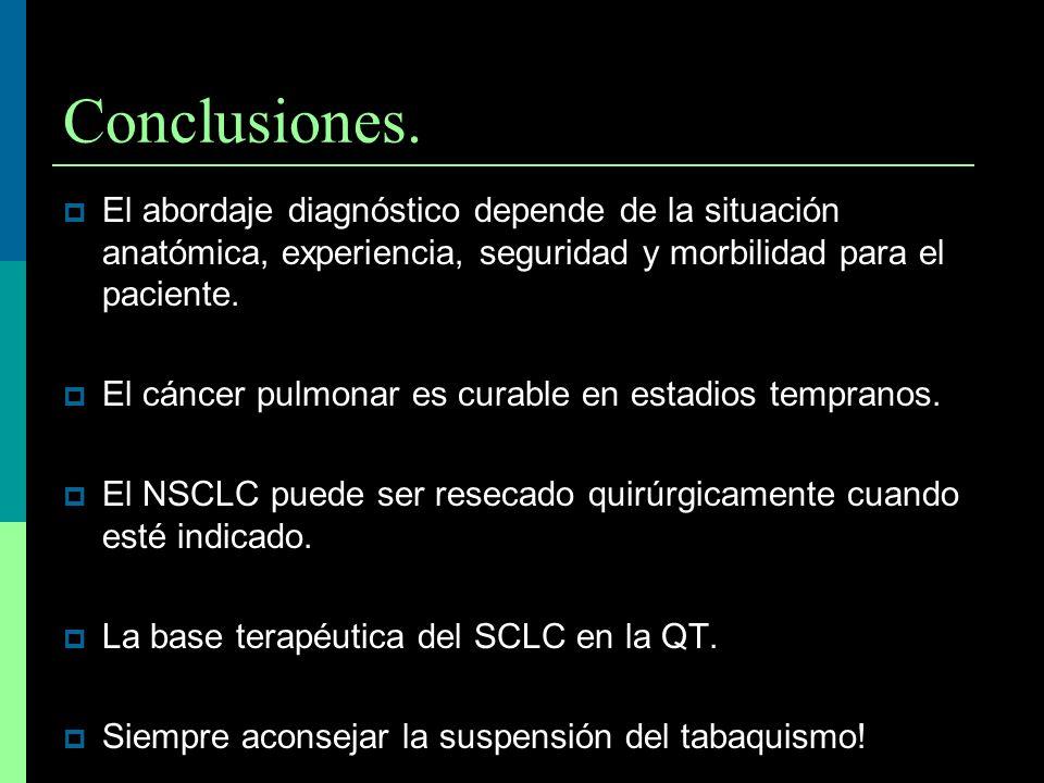 Conclusiones. El abordaje diagnóstico depende de la situación anatómica, experiencia, seguridad y morbilidad para el paciente. El cáncer pulmonar es c