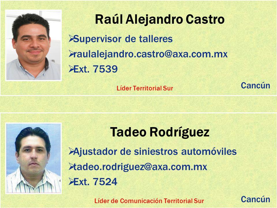 Raúl Alejandro Castro Supervisor de talleres raulalejandro.castro@axa.com.mx Ext. 7539 Tadeo Rodríguez Ajustador de siniestros automóviles tadeo.rodri
