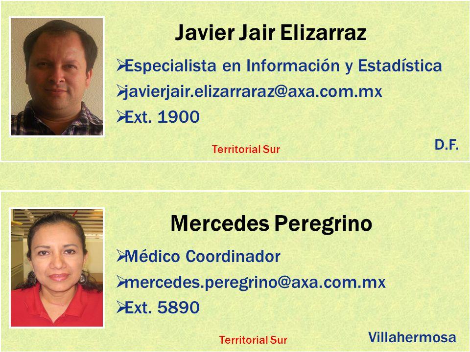 Javier Jair Elizarraz Especialista en Información y Estadística javierjair.elizarraraz@axa.com.mx Ext. 1900 Mercedes Peregrino Médico Coordinador merc