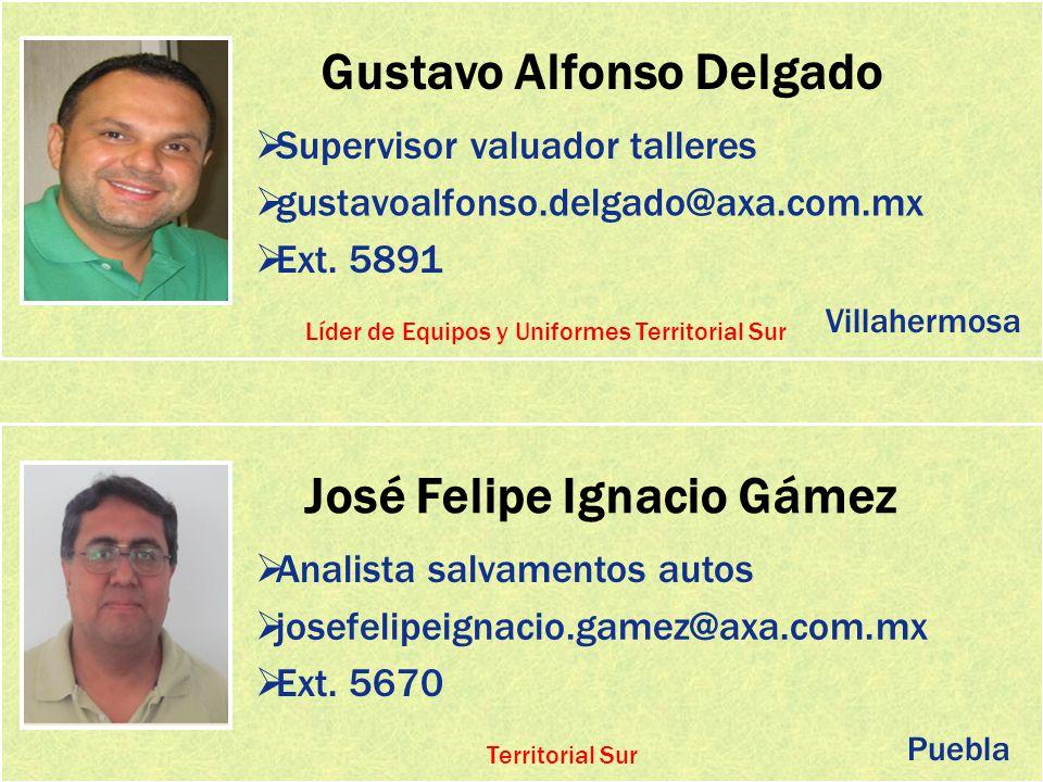 Gustavo Alfonso Delgado Supervisor valuador talleres gustavoalfonso.delgado@axa.com.mx Ext. 5891 José Felipe Ignacio Gámez Analista salvamentos autos