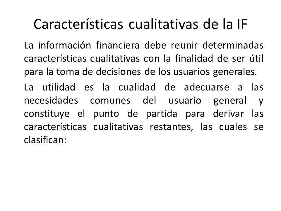 Características cualitativas de la IF a) Confiabilidad, a la que se encuentran asociadas como características secundarias: la veracidad, la representatividad, la objetividad, la verificabilidad y la información suficiente.