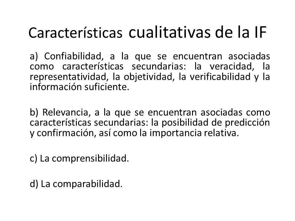 Características cualitativas de la IF a) Confiabilidad, a la que se encuentran asociadas como características secundarias: la veracidad, la representa