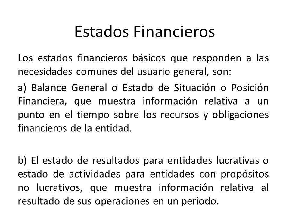 Estados Financieros Los estados financieros básicos que responden a las necesidades comunes del usuario general, son: a) Balance General o Estado de S
