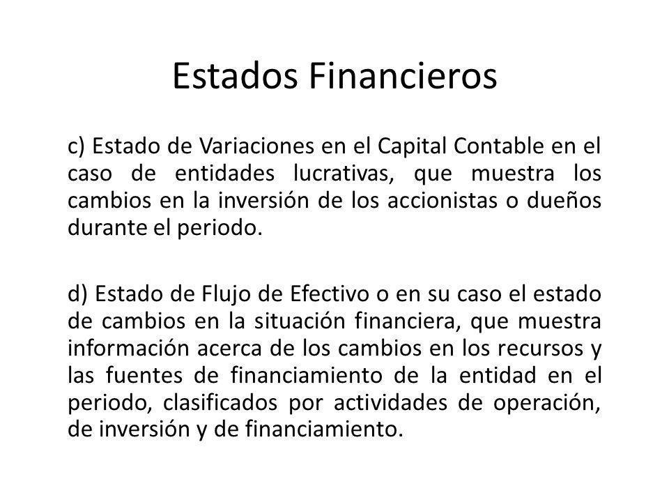 Estados Financieros c) Estado de Variaciones en el Capital Contable en el caso de entidades lucrativas, que muestra los cambios en la inversión de los