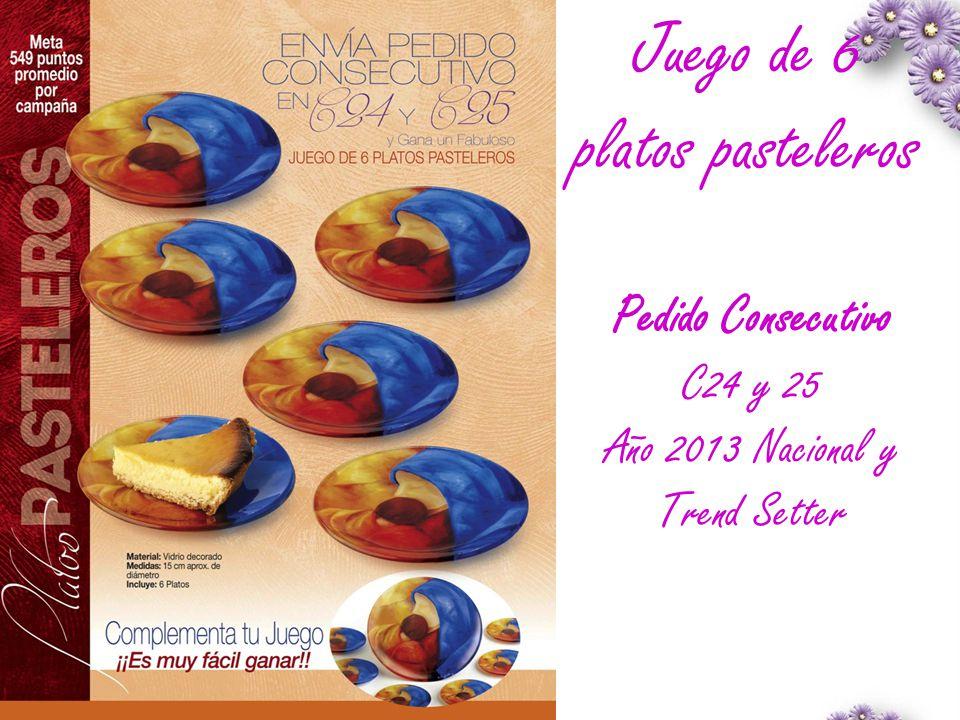 Juego de 6 platos pasteleros Pedido Consecutivo C24 y 25 Año 2013 Nacional y Trend Setter