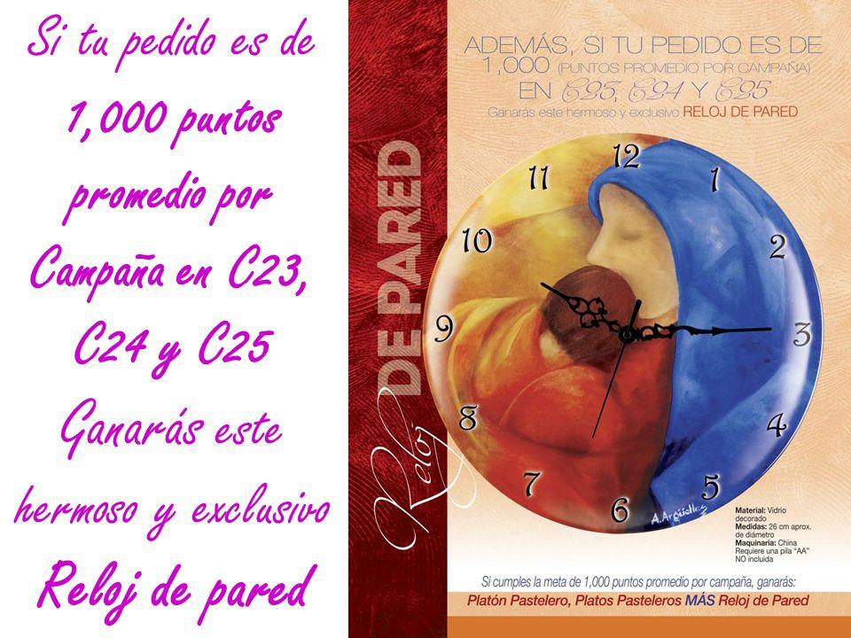 Si tu pedido es de 1,000 puntos promedio por Campaña en C23, C24 y C25 Ganarás este hermoso y exclusivo Reloj de pared