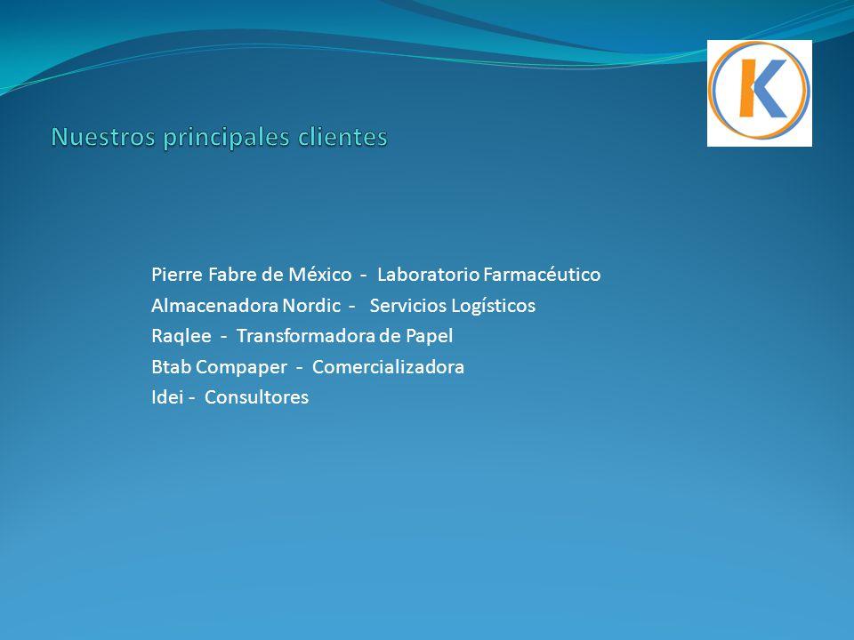 Pierre Fabre de México - Laboratorio Farmacéutico Almacenadora Nordic - Servicios Logísticos Raqlee - Transformadora de Papel Btab Compaper - Comercia