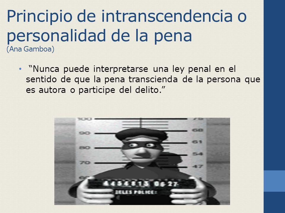 Principio de intranscendencia o personalidad de la pena (Ana Gamboa) Nunca puede interpretarse una ley penal en el sentido de que la pena transcienda de la persona que es autora o participe del delito.