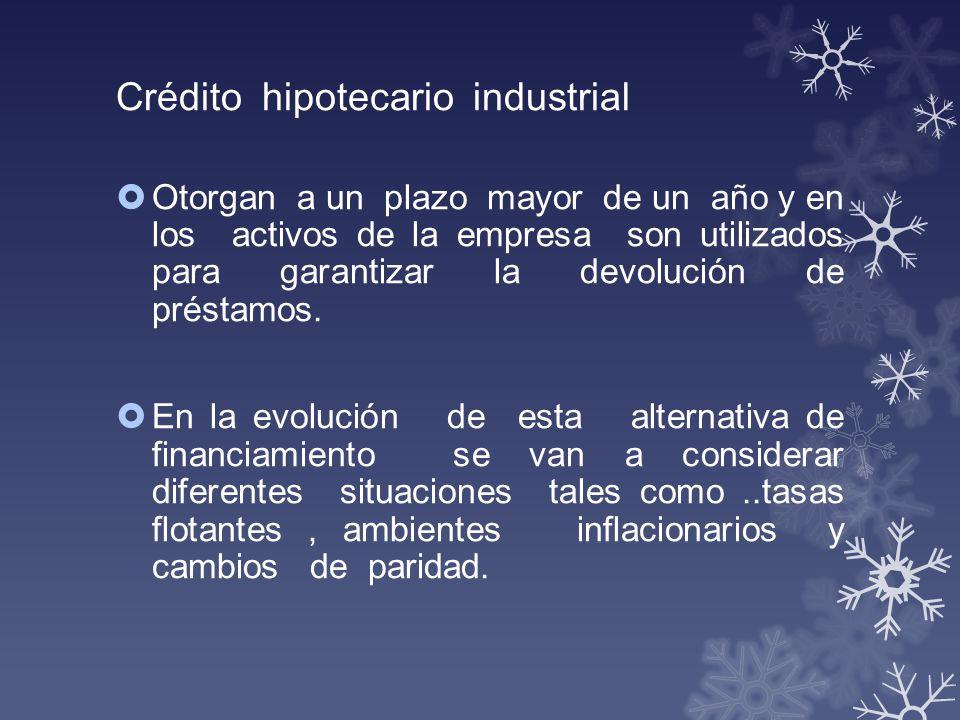 Crédito hipotecario industrial Otorgan a un plazo mayor de un año y en los activos de la empresa son utilizados para garantizar la devolución de prést