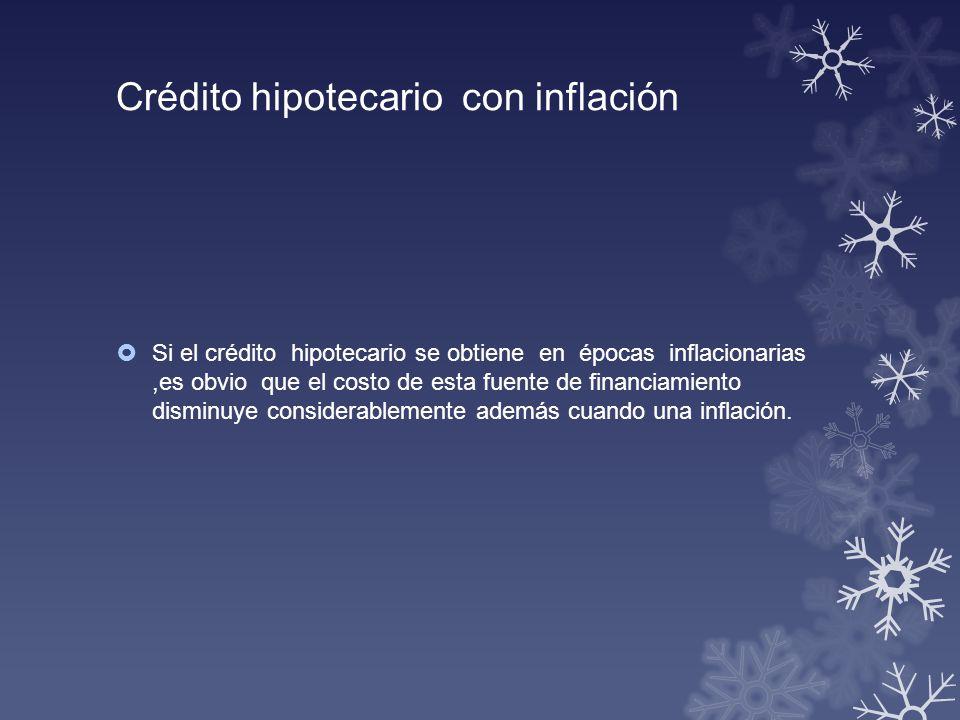 Crédito hipotecario con inflación Si el crédito hipotecario se obtiene en épocas inflacionarias,es obvio que el costo de esta fuente de financiamiento