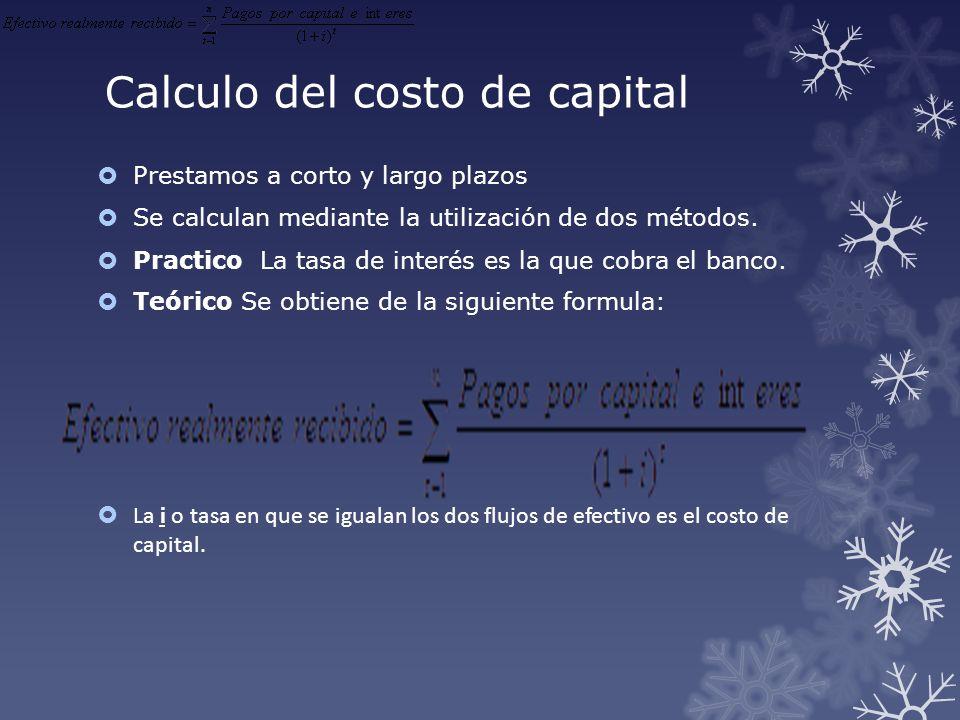 Calculo del costo de capital Prestamos a corto y largo plazos Se calculan mediante la utilización de dos métodos. Practico La tasa de interés es la qu
