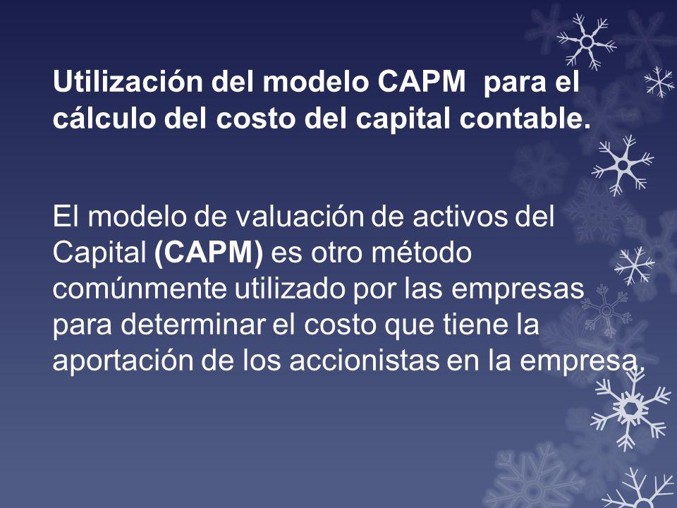 Utilización del modelo CAPM para el cálculo del costo del capital contable. El modelo de valuación de activos del Capital (CAPM) es otro método comúnm