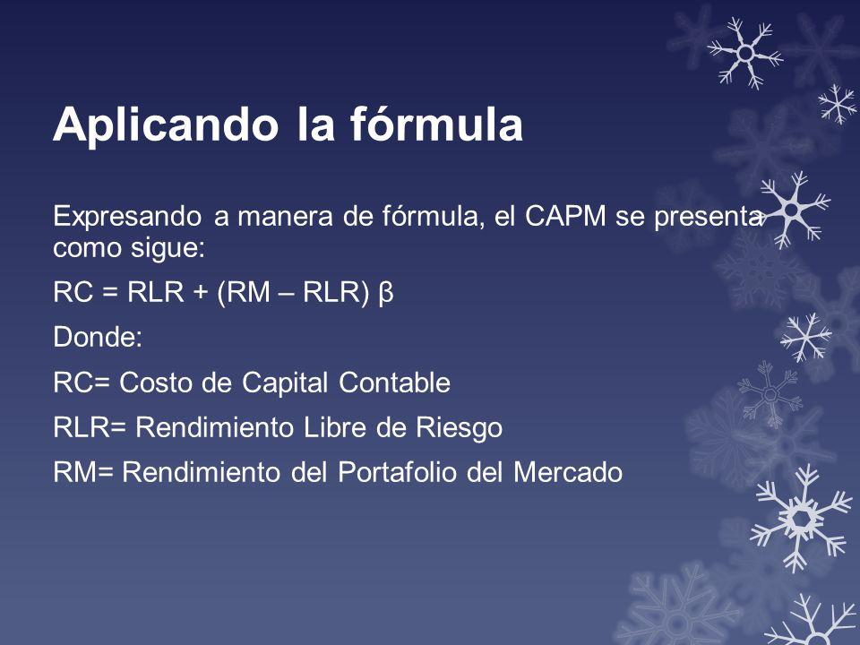 Aplicando la fórmula Expresando a manera de fórmula, el CAPM se presenta como sigue: RC = RLR + (RM – RLR) β Donde: RC= Costo de Capital Contable RLR=