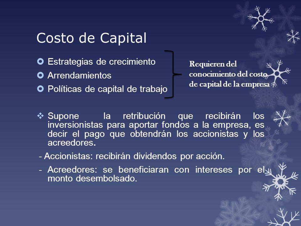 Costo de Capital Estrategias de crecimiento Arrendamientos Políticas de capital de trabajo Supone la retribución que recibirán los inversionistas para