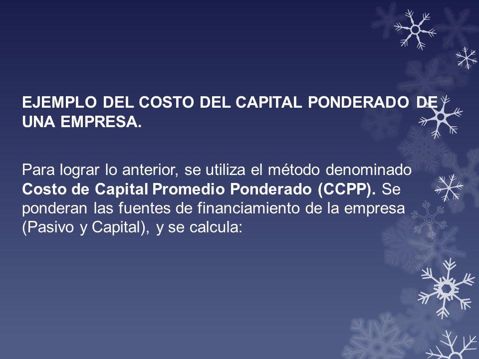 EJEMPLO DEL COSTO DEL CAPITAL PONDERADO DE UNA EMPRESA. Para lograr lo anterior, se utiliza el método denominado Costo de Capital Promedio Ponderado (