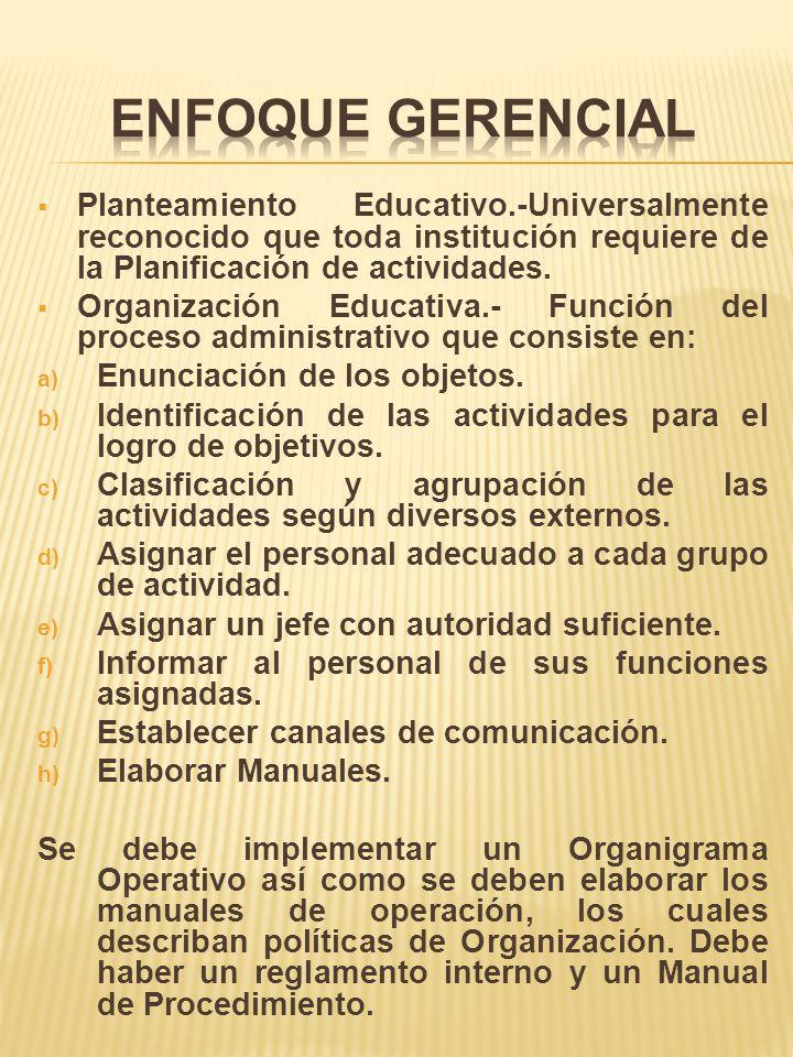 Planteamiento Educativo.-Universalmente reconocido que toda institución requiere de la Planificación de actividades. Organización Educativa.- Función