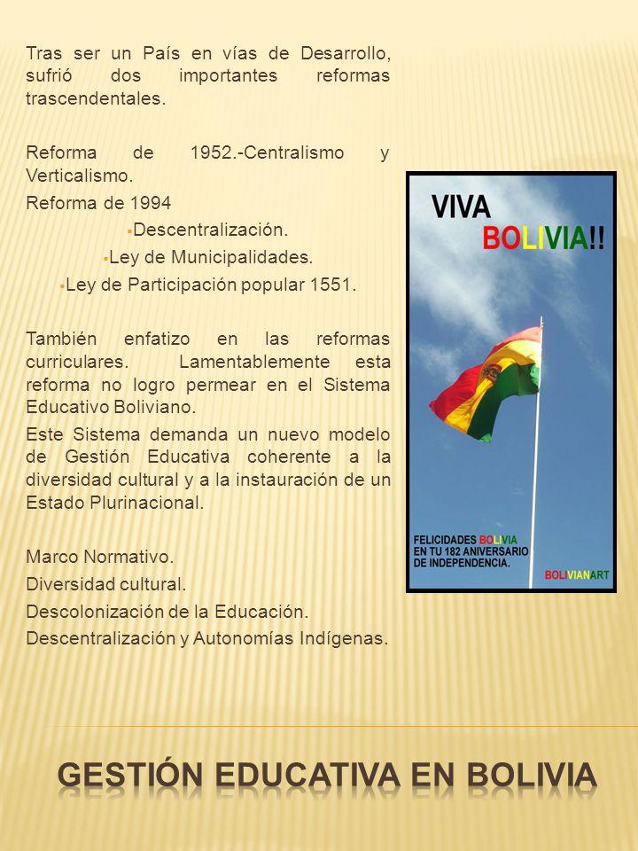 Tras ser un País en vías de Desarrollo, sufrió dos importantes reformas trascendentales. Reforma de 1952.-Centralismo y Verticalismo. Reforma de 1994
