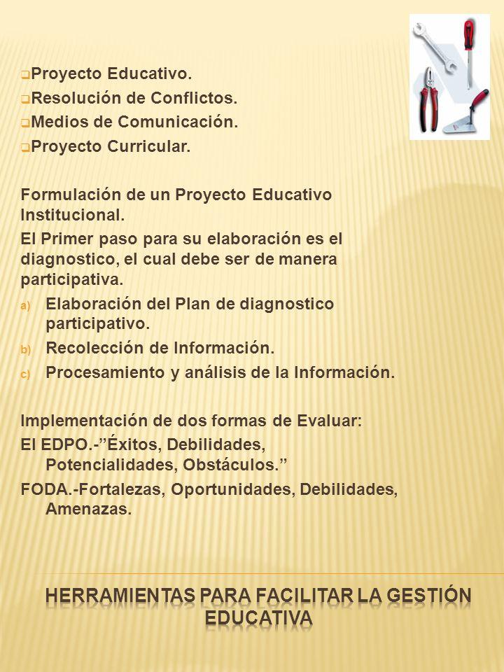Proyecto Educativo. Resolución de Conflictos. Medios de Comunicación. Proyecto Curricular. Formulación de un Proyecto Educativo Institucional. El Prim
