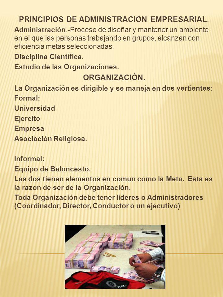PRINCIPIOS DE ADMINISTRACION EMPRESARIAL. Administración.-Proceso de diseñar y mantener un ambiente en el que las personas trabajando en grupos, alcan