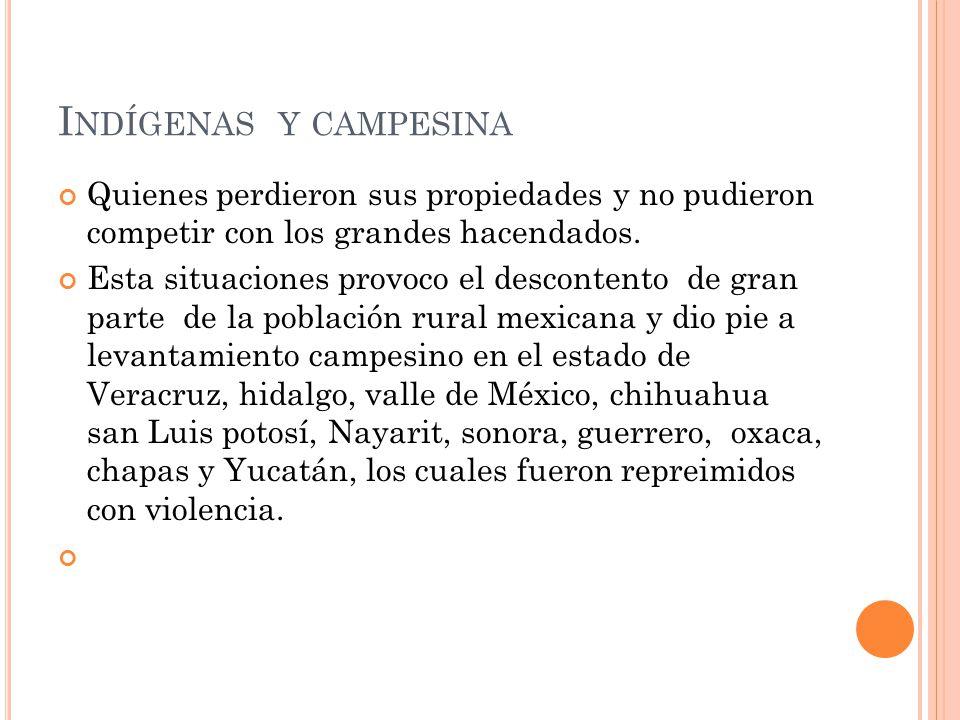 I NDÍGENAS Y CAMPESINA Quienes perdieron sus propiedades y no pudieron competir con los grandes hacendados.