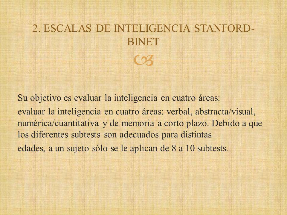 Su objetivo es evaluar la inteligencia en cuatro áreas: evaluar la inteligencia en cuatro áreas: verbal, abstracta/visual, numérica/cuantitativa y de memoria a corto plazo.