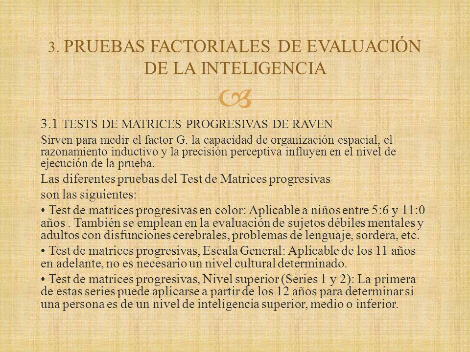 3.1 TESTS DE MATRICES PROGRESIVAS DE RAVEN Sirven para medir el factor G.