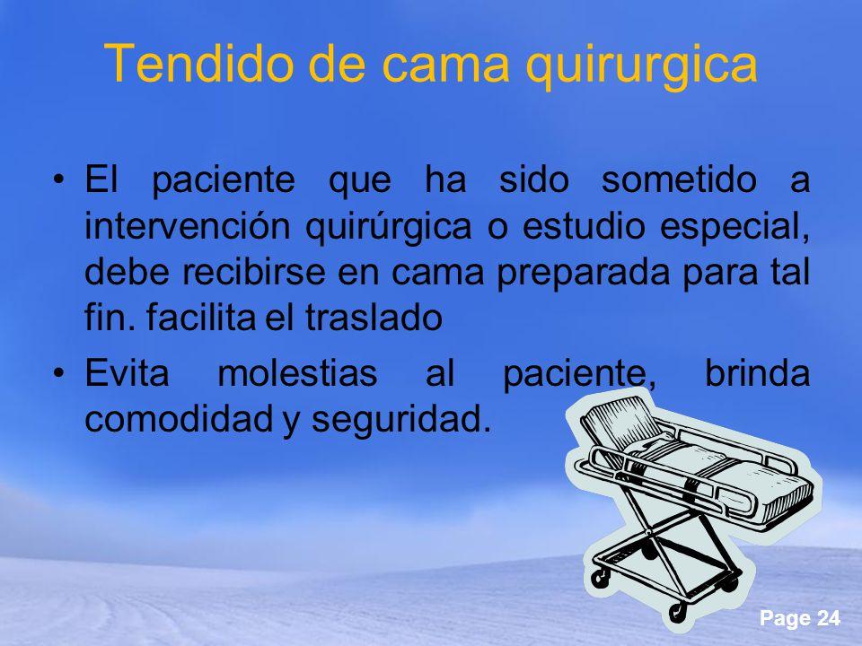 Page 24 Tendido de cama quirurgica El paciente que ha sido sometido a intervención quirúrgica o estudio especial, debe recibirse en cama preparada par
