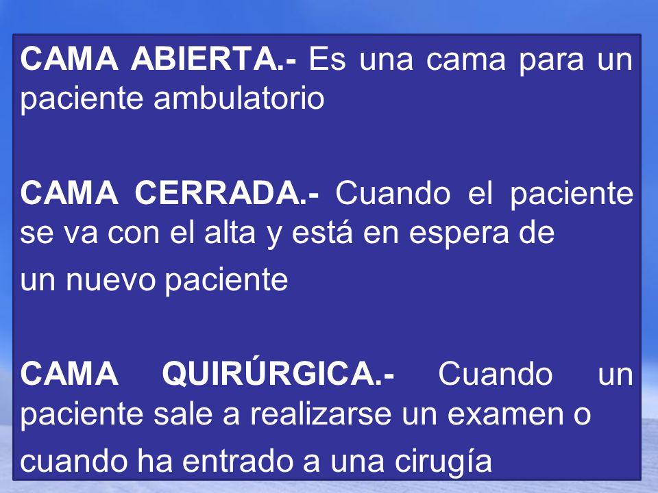 Page 4 CAMA ABIERTA.- Es una cama para un paciente ambulatorio CAMA CERRADA.- Cuando el paciente se va con el alta y está en espera de un nuevo pacien