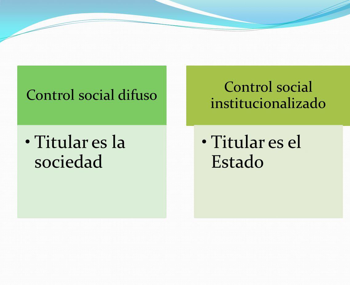 Control social difuso Titular es la sociedad Control social institucionalizado Titular es el Estado