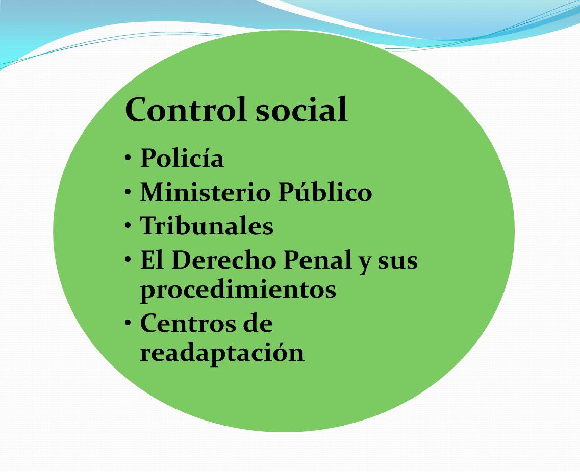 Control social Policía Ministerio Público Tribunales El Derecho Penal y sus procedimientos Centros de readaptación