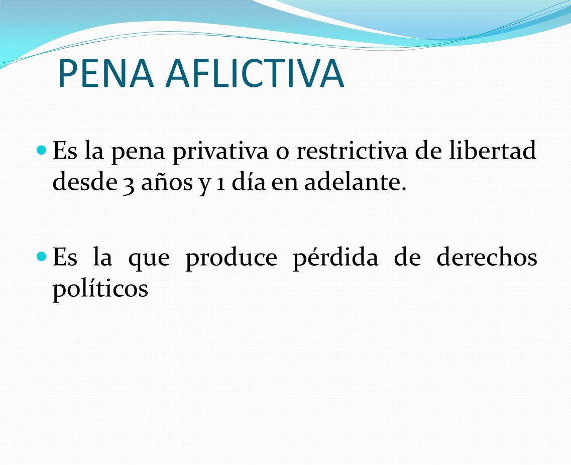 PENA AFLICTIVA Es la pena privativa o restrictiva de libertad desde 3 años y 1 día en adelante. Es la que produce pérdida de derechos políticos