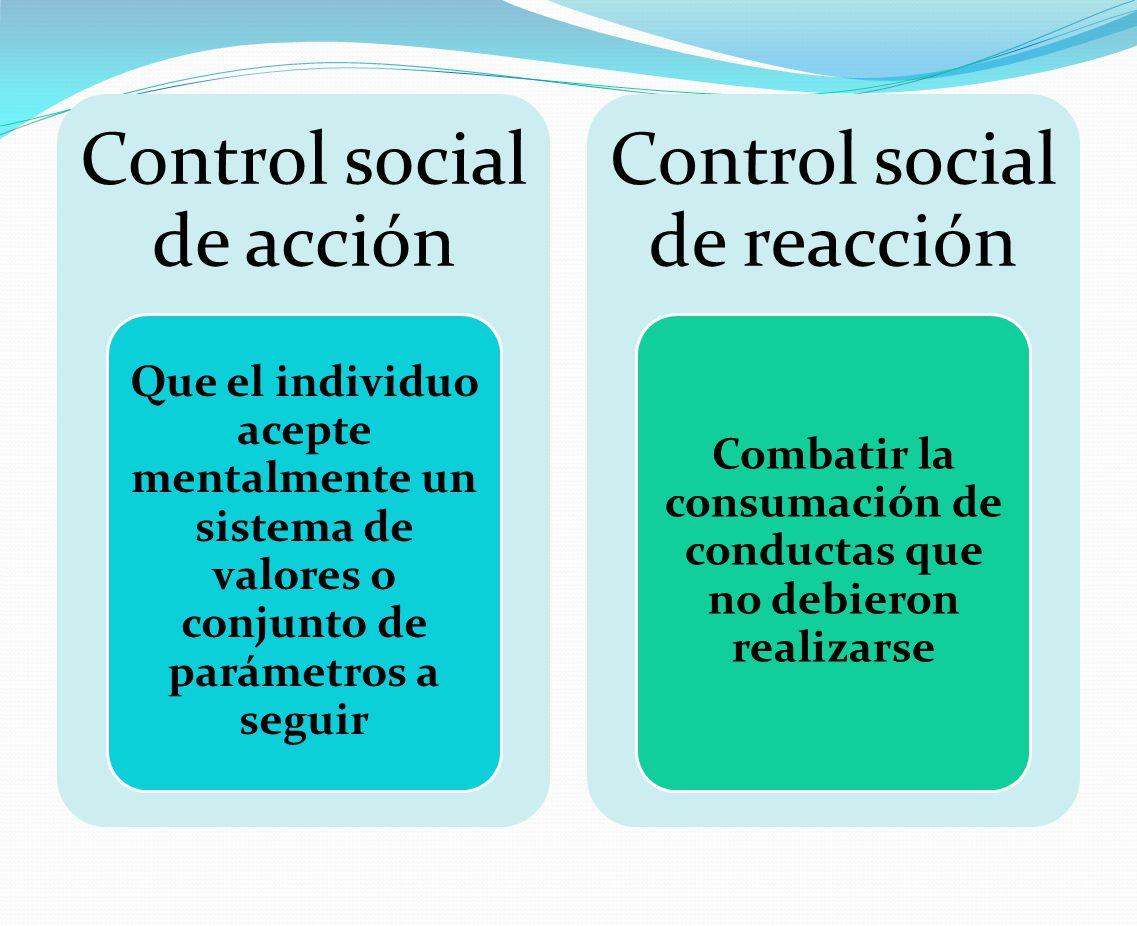 Control social de acción Que el individuo acepte mentalmente un sistema de valores o conjunto de parámetros a seguir Control social de reacción Combat