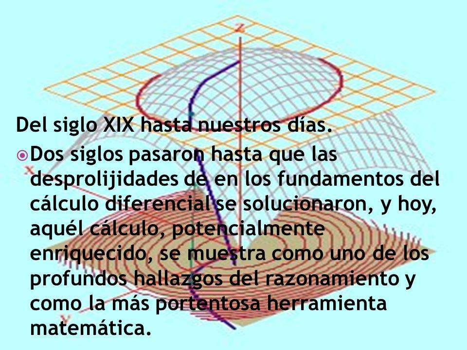 Del siglo XIX hasta nuestros días. Dos siglos pasaron hasta que las desprolijidades de en los fundamentos del cálculo diferencial se solucionaron, y h