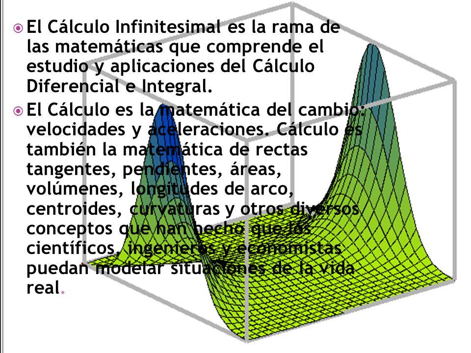 El Cálculo Infinitesimal es la rama de las matemáticas que comprende el estudio y aplicaciones del Cálculo Diferencial e Integral. El Cálculo es la ma