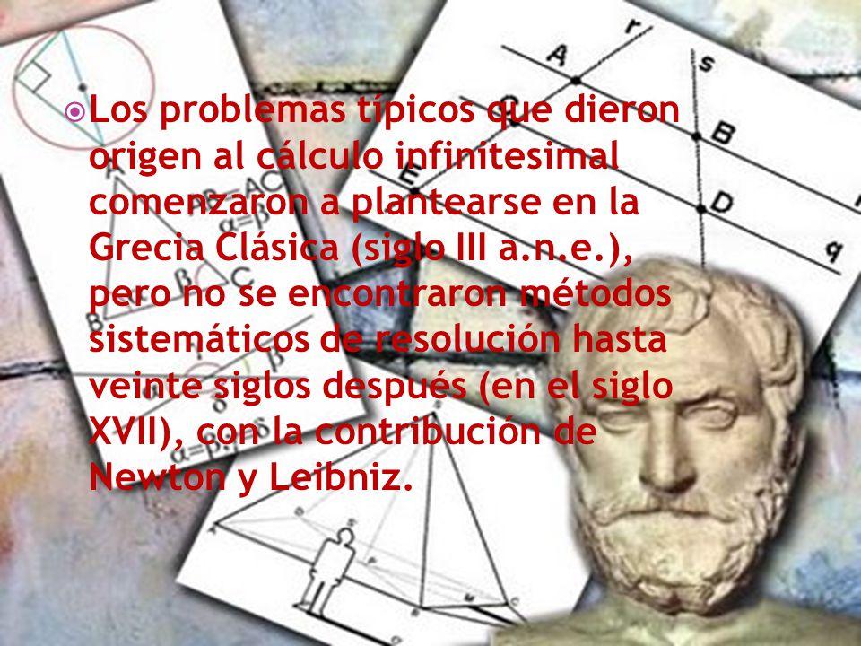 Los problemas típicos que dieron origen al cálculo infinitesimal comenzaron a plantearse en la Grecia Clásica (siglo III a.n.e.), pero no se encontrar