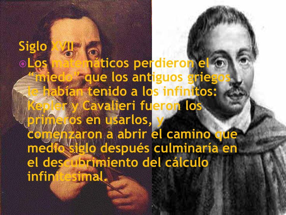 Siglo XVII Los matemáticos perdieron el miedo que los antiguos griegos le habían tenido a los infinitos: Kepler y Cavalieri fueron los primeros en usa